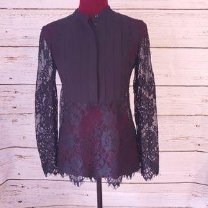 WHBM lace tuxedo style blouse